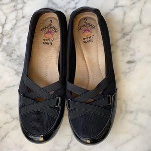 Earth Spirit  Black Slip-on Loafers 9
